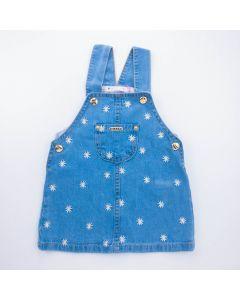 Jardineira Jeans Azul para Bebê Menina com Florzinhas