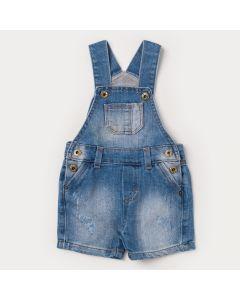 Jardineira Jeans Azul para Bebê Menino com Bolso