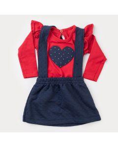 Jardineira Marinho de Inverno Bebê Menina com Blusa Vermelha Coração