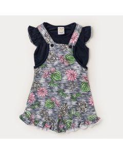 Jardineira para Menina Preta Flores e Blusa Marinho Básica