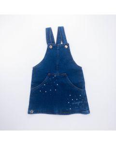 Jardineira Jeans para Menina com Bolso Frontal Azul