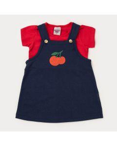 Jardineira para Menina Marinho Cereja com Blusa Básica Vermelha