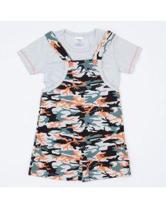 Jardineira Infantil Masculina Militar e Blusa Marfim
