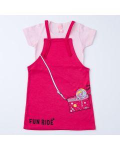 Jardineira de Verão Pink para Menina com Blusa Rosa Básica