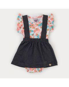 Jardineira Jeans Preta para Bebê Menina Body Laranja Estampado