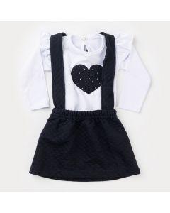 Jardineira Preta de Inverno Bebê Menina com Blusa Branca Coração
