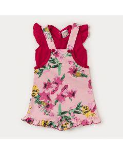 Jardineira Pink Estampada com Blusa Pink para Bebê Menina