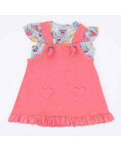 Jardineira Rosa com Blusa Azul Frutinhas para Bebê Menina