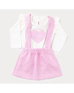 Jardineira Rosa de Inverno Bebê Menina com Blusa Marfim Coração