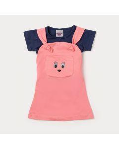 Jardineira de Bebê Menina Rosa com Blusa Azul Marinho