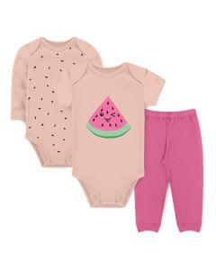 Kit Body 3 Peças Bebê Menina Bodies Salmão Melancia e Calça Rosa