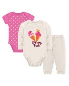 Kit Body 3 Peças Bebê Menina Bodies Marfim e Rosa Sorvete e Calça Marfim