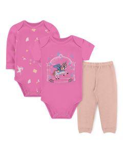 Kit Body 3 Peças Bebê Menina Bodies Rosa Unicórnio e Calça Salmão
