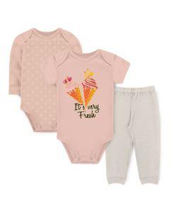 Kit Body 3 Peças Bebê Menina Bodies Salmão Bolinha e Calça Marfim