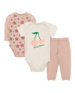 Kit Body 3 Peças Bebê Menina Bodies Salmão e Marfim Flores e Calça Salmão