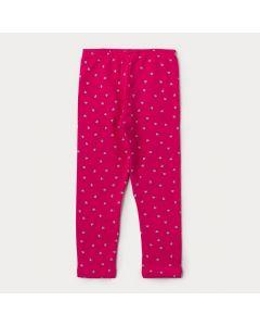 Calça Legging Infantil Feminina Rosa com Estampa de Coração