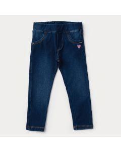 Legging Jeans Infantil Feminina Azul Escuro Bordado Coração