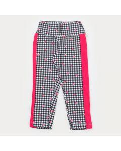 Legging em Cotton Xadrez Preta Coração com Lateral Pink para Menina