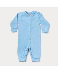 Macacão de Inverno para Bebê Menino em Soft Azul com Botão