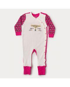 Macacão de Bebê Menina em Suedine Marfim Com Pézinho Reversível
