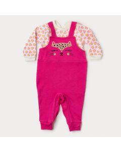 Macacão de Bebê Menina Pink em Suedine com Botão Veste Fácil
