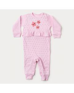 Macacão para Bebê Menina em Suedine Rosa Estrela com Botão Veste Fácil