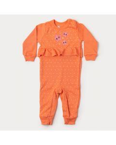 Macacão para Bebê Menina em Suedine Salmão Estrela com Botão Veste Fácil