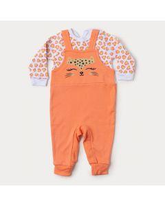 Macacão de Bebê Menina em Suedine Salmão com Botão Veste Fácil