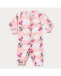 Macacão de Inverno para Bebê Menina Rosa Estampado em Soft
