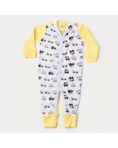 Macacão de Bebê Menino Amarelo Caminhão com Botão