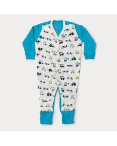 Macacão de Bebê Menino Azul Caminhão com Pé Reversível