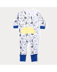 Macacão de Bebê Menino em Suedine Branco com Pé Reversível e Bolso