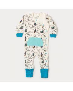 Macacão de Bebê Menino em Suedine Marfim Foguete com Bolso