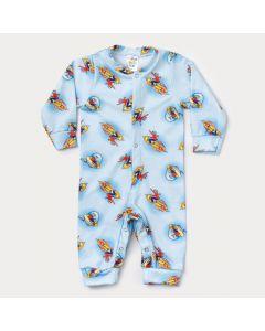 Macacão de Inverno para Bebê Menino Azul Estampado em Soft