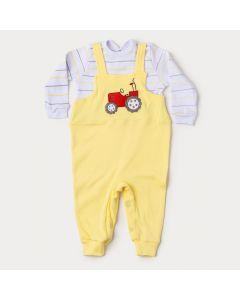 Macacão de Bebê Menino Amarelo Trator com Botão Veste Fácil