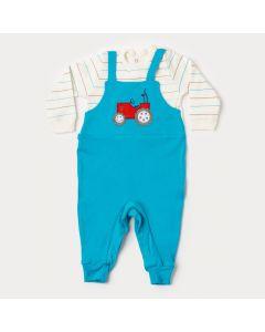 Macacão de Bebê Menino Azul Trator com Botão Veste Fácil