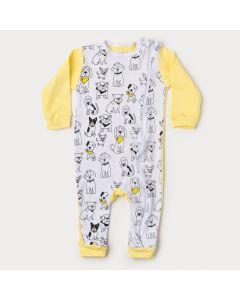 Macacão de Bebê com Zíper Unissex Amarelo Cachorrinho
