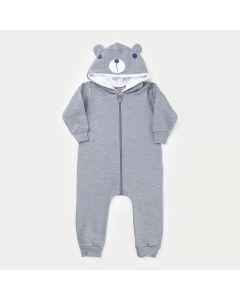 Macacão de Inverno em Moletom Cinza para Bebê Menino com Touca Peluciada