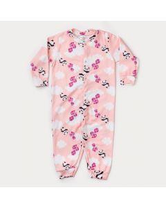 Macacão de Inverno Infantil Feminino Rosa Estampado em Soft