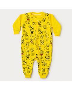 Macacão de Bebê Menino Amarelo Cachorrinho com Zíper