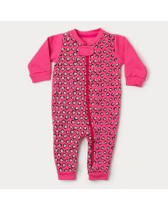 Macacão de Bebê Menina Pink Oncinha com Zíper Frontal