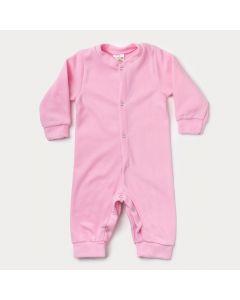 Macacão de Inverno para Bebê Menina em Soft Rosa com Botão