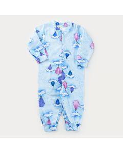 Macacão de Inverno para Menina em Soft Azul Balões