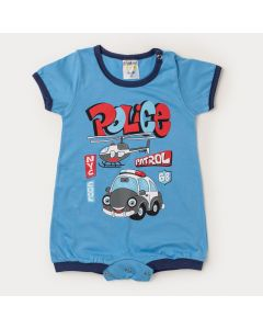 Macaquinho Azul para Bebê Menino Carrinho com Botão Veste Fácil