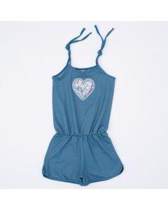 Macaquinho Infantil Feminino Azul Coração com Bordado