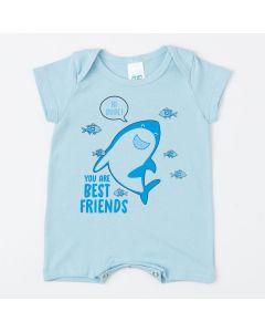 Macaquinho Azul para Bebê Menino Tubarão de Verão