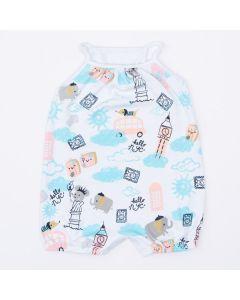 Macaquinho de Verão Branco Estampado para Bebê Menina