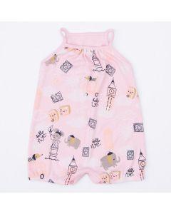 Macaquinho de Verão Rosa Estampado para Bebê Menina