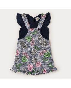 Jardineira Marinho Estampada com Blusa Marinho para Bebê Menina