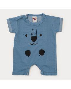 Macaquinho de Verão Bebê Menino Urso Azul